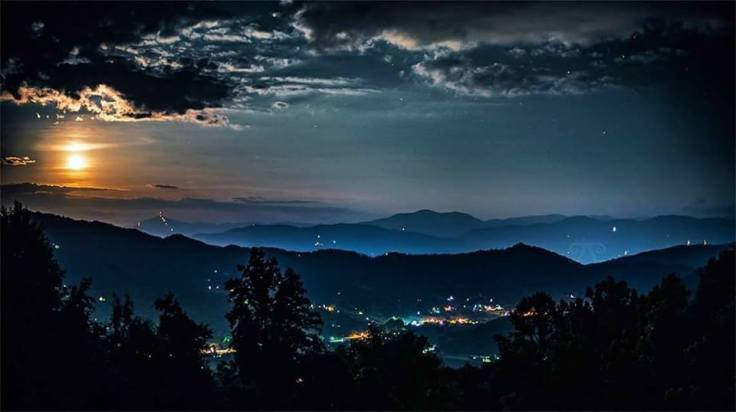Moonlight over town